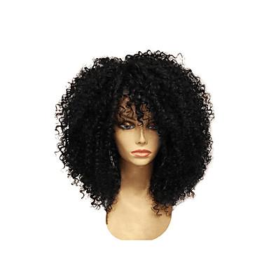 povoljno Perike i ekstenzije-Sintetičke perike Afro Kinky Stil Stepenasta frizura Capless Perika Čokolada Crna Sintentička kosa 28~32 inch Žene Novi Dolazak Crna Tamnosmeđa Perika Srednja dužina / Da