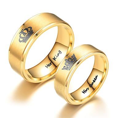 levne Pánské šperky-Pánské Dámské Band Ring Prsten Tail Ring 1ks Zlatá Nerez Kulatý Vintage Základní Módní Dar Šperky Korunka Cool