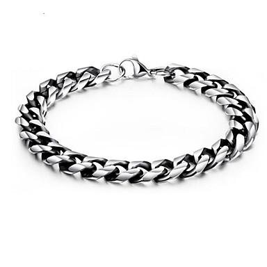 levne Pánské šperky-Pánské Řetězové & Ploché Náramky Geometrické Vertikálně stylové Titanová ocel Náramek šperky Stříbrná Pro Denní