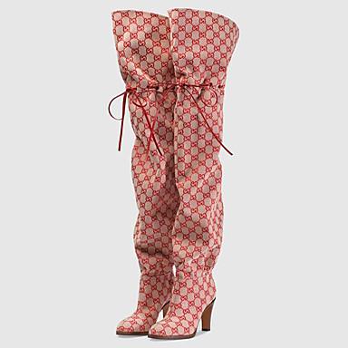 voordelige Dameslaarzen-Dames Laarzen Blokhak Ronde Teen Microvezel Over de knie laarzen Klassiek / Brits Lente zomer / Herfst winter Amandel / Rood / Roze / Feesten & Uitgaan