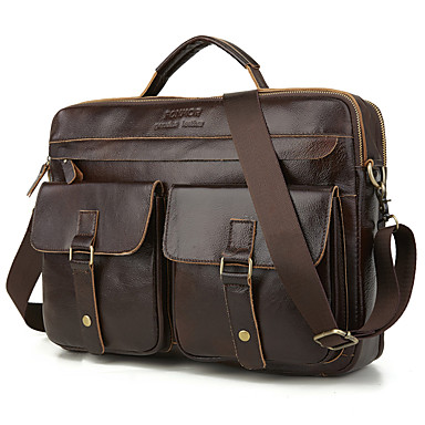 cheap Briefcases-Waterproof Laptop Bag Briefcase Top Handle Bag Men's Cowhide Belt Zipper Solid Color Daily Outdoor Black Brown / Fall & Winter