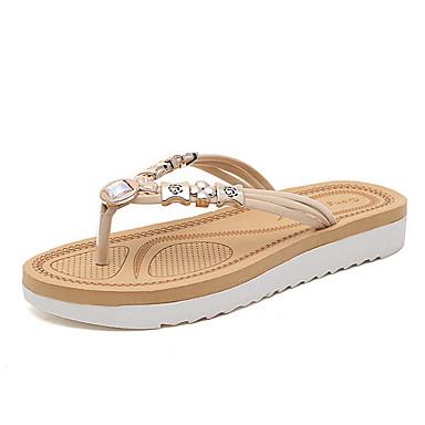 voordelige Damespantoffels & slippers-Dames Slippers & Flip-Flops Platte hak Ronde Teen Strass PU Zomer Wit / Rood / Blauw
