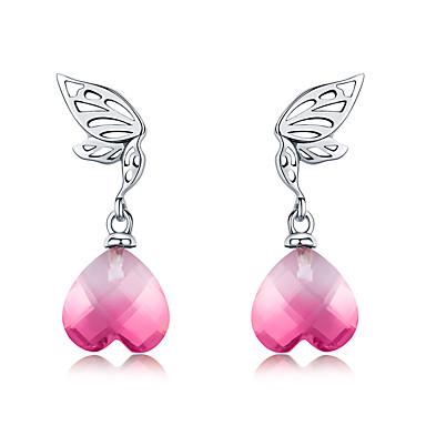 Nova chegada 925 prata esterlina asas de esperança rosa de cristal coração brincos para mulheres casamento noivado jóias bs28e015