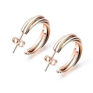 levne Dámské šperky-Dámské Náušnice Klasika Pletený stylové Evropský Nerez Růže pozlacená Náušnice Šperky Růžové zlato Pro Denní Street 1 Pair