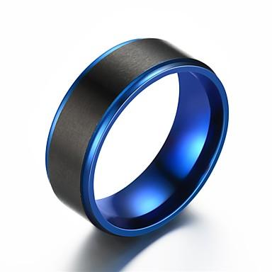 billige Båndringe-Herre Band Ring Ring Tail Ring 1pc Blå Rustfritt Stål Sirkelformet Vintage Grunnleggende Mote Gave Smykker