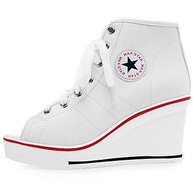 levne Dámské boty s plochou podrážkou-Dámské Bez podpatku Creepers S otevřeným palcem Plátno Léto Černá / Bílá / Červená