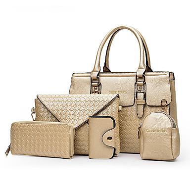 Mulheres PU Conjuntos de saco Treliça 5 Pcs Purse Set Preto / Dourado / Azul / Outono & inverno