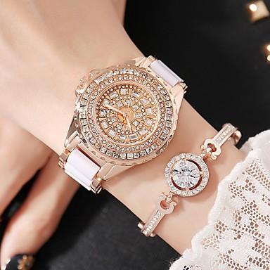 olcso Női órák-Női Divatos óra Szimulált Gyémánt Karóra Ékszeróra Kvarc Amulett Fehér Analóg - Arany