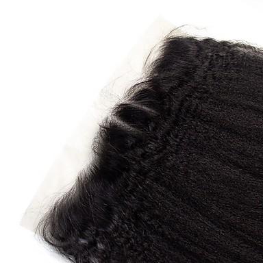preiswerte Verschluss & Frontal-Clytie Brasilianisches Haar 4x13 Closure Locken Kostenlose Part Mittelteil Schweizer Spitze Echthaar Damen Damen Verabredung / Schwarz