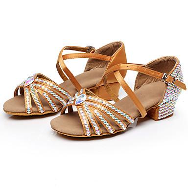 preiswerte Tanzschuhe-Damen Tanzschuhe Satin Schuhe für den lateinamerikanischen Tanz Glitter / Schnalle / Kristall Verzierung Absätze Starke Ferse Schwarz / Braun / Blau