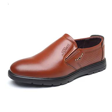 Homens Sapatos Confortáveis Couro Ecológico Verão Negócio Mocassins e Slip-Ons Preto / Marron / Festas & Noite / Festas & Noite / Escritório e Carreira