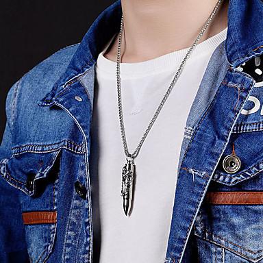povoljno Modne ogrlice-Muškarci Ogrlice s privjeskom Graviranog Bullet Punk Titanium Steel Zlato Pink 55 cm Ogrlice Jewelry 1pc Za Dar Škola Ulica Klub Obećanje
