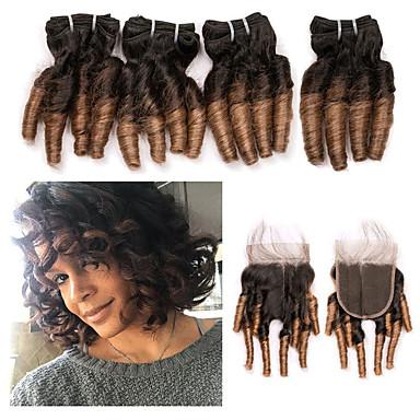 povoljno Ekstenzije od ljudske kose-4 paketi s zatvaranjem Brazilska kosa Kovrčav Remy kosa Ekstenzije od ljudske kose Ombre Kosa potke zatvaranje 8-26 inch Isprepliće ljudske kose Žene Gradijent boje Najbolja kvaliteta Proširenja