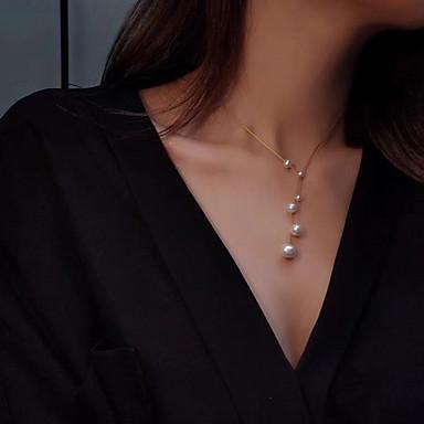 preiswerte Religiöser Schmuck-Damen Stränge Halskette Halskette Perlenkette Perlen vergoldet Gold 50 cm Modische Halsketten Schmuck 1pc Für Weihnachten Geschenk Alltag Versprechen Festival