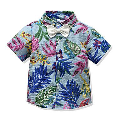 povoljno Odjeća za dječake-Djeca Dječaci Osnovni Cvjetni print Kratkih rukava Majica Crn