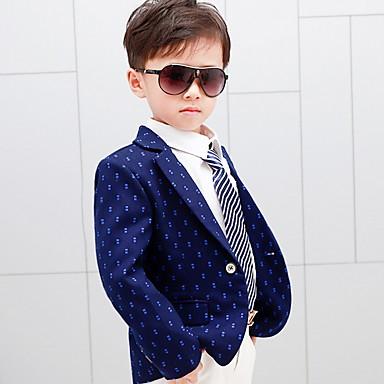povoljno Kompletići za dječake-Djeca Dječaci Osnovni Na točkice Dugih rukava Odijelo i sako Plava
