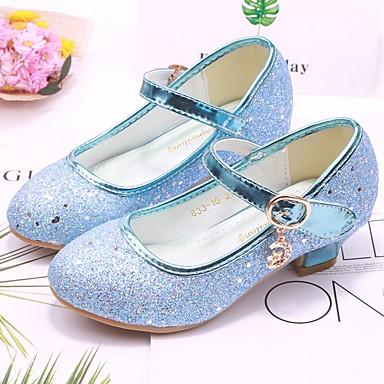 preiswerte Schuhe für Kinder-Mädchen Schuhe für das Blumenmädchen PU High Heels Kleine Kinder (4-7 Jahre) Paillette Silber / Blau / Rosa Herbst