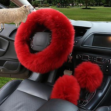 levne Doplňky do interiéru-zimní volant potah volantu dlouhý vlněný kožený potah volantu