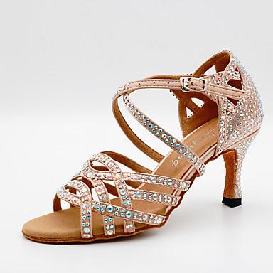 preiswerte Tanzschuhe-Damen Tanzschuhe Satin Schuhe für den lateinamerikanischen Tanz Glitter / Kristall Verzierung / Crystal / Strass Absätze Kubanischer Absatz Maßfertigung Schwarz / Mandelfarben / Leistung / Leder