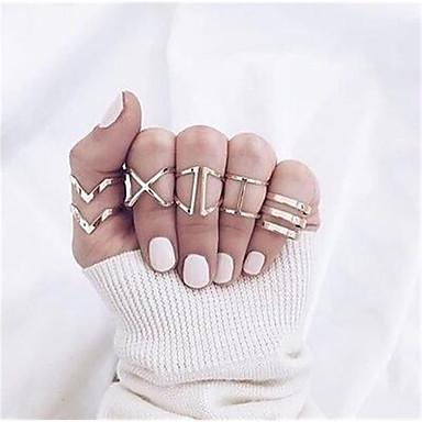 voordelige Dames Sieraden-Dames Ring Set Multi-vinger ring 5 stuks Goud Legering Eenvoudig Punk Europees Feest Lahja Sieraden X-ring