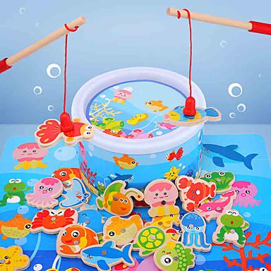 ของเล่นแม่เหล็ก ของเล่นการศึกษา ปลาโลมา ปลา ปลาหมึกยักษ์ Shark Animal ไม้