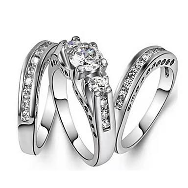 billige Motering-Dame Ring 3pcs Sølv Fuskediamant Legering Geometrisk Form trendy Koreansk Mote Daglig Smykker Klassisk Heldig