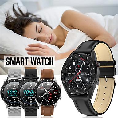 levne Pánské-Inteligentní hodinky Digitální Moderní styl Sportovní Pravá kůže 30 m Voděodolné Monitor pulsu Bluetooth Digitální Na běžné nošení Outdoor - Černá Hnědá Black / Gray