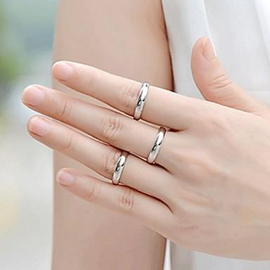 billige Ringer for Par-Par Parringer 1pc Hvit Sølv Rustfritt Stål Titanium Stål Sirkelformet Grunnleggende Mote Love Smykker