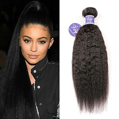 povoljno Ekstenzije od ljudske kose-3 paketa Peruanska kosa Yaki Straight Remy kosa 100% Remy kose tkanja Bundle Ljudske kose plete Produžetak Bundle kose 8-28 inch Natural Isprepliće ljudske kose Život Prilagodljiv 100% Djevica