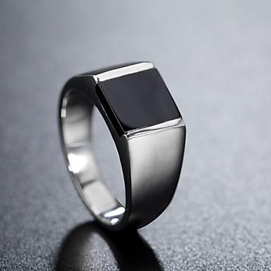 billige Motering-Herre Band Ring Ring 1pc Sølv Titanium Stål Sirkelformet Vintage Grunnleggende Mote Daglig Smykker