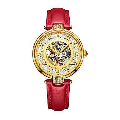 levne Pánské-Dámské mechanické hodinky Na běžné nošení Módní Červená PU kůže čínština Automatické natahování Zlatá Voděodolné S dutým gravírováním 30 m Analogové Jeden rok Životnost baterie / Nerez
