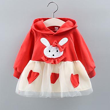 preiswerte Kleider für Babys-Baby Mädchen Grundlegend Solide / Druck Gitter Langarm Übers Knie Kleid Rosa