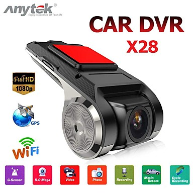 abordables Electronicos para el Coche-anytek x28 dash cam fhd 1080p dvr para coche 150 grados gran angular dvr para coche grabador de video gps con wifi / mini / g-sensor / adas / grabación en bucle / detección de montion