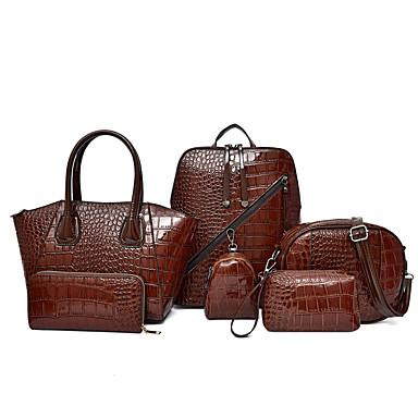preiswerte Taschensets-Damen Reißverschluss Lackleder / PU Bag Set Volltonfarbe 6 Stück Geldbörse Set Schwarz / Braun / Rote