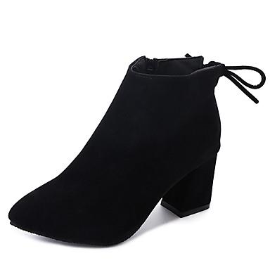 voordelige Dameslaarzen-Dames Laarzen Blokhak Gepuntte Teen Strik Suède Korte laarsjes / Enkellaarsjes Informeel / minimalisme Herfst winter Zwart / Bruin / Wijn