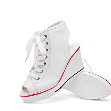 levne Dámské boty s plochou podrážkou-Dámské Bez podpatku Skryté pata S otevřeným palcem Plátno Léto Černá / Bílá