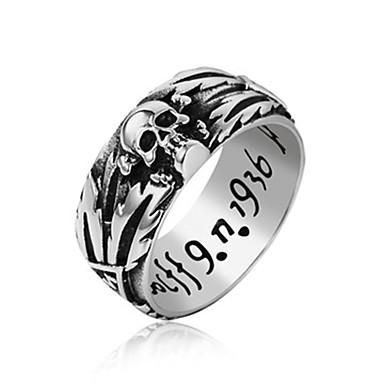 levne Pánské šperky-Pánské Band Ring Prsten 1ks Černá Stříbrná Titanová ocel Kulatý Vintage Základní Módní Denní Šperky Lebka Písmeno Cool