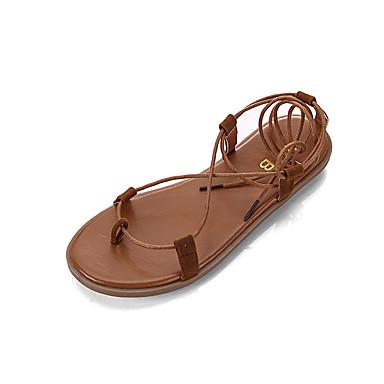 levne Dámské sandály-Dámské Sandály Rovná podrážka Otevřený palec Guma Sladký / Minimalismus Jaro léto Khaki