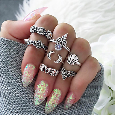 cheap Rings-Women's Ring Set 7pcs Gold Silver Alloy Stylish Unique Design Fashion Gift Daily Jewelry Geometrical Elephant Sun Moon Cool