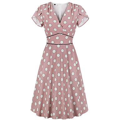Vintage Vestidos Mulheres Ocasiões Especiais Rosa claro Vintage Cosplay Encontro Rua Manga Curta Midi Linha A