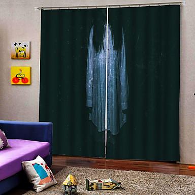 Chegada nova luxo horror mulher fantasma 3d impressão digital cortina da janela 100% poliéster cortina blackout tecido para decoração hallowmas