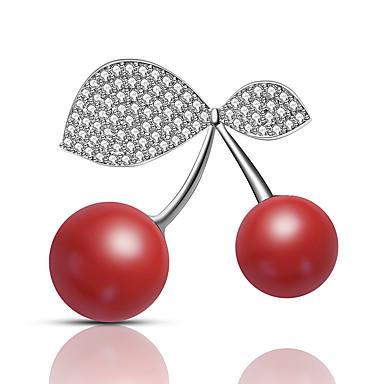 levne Dámské šperky-Dámské Brože Ozdobný Třešňová Luxus Moderní Sladký Elegantní Barevná Umělé diamanty Brož Šperky Stříbrná Pro Svatební Dar Street Slib