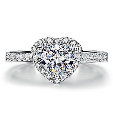 billige Motering-Dame Ring 1pc Hvit Kobber Sirkelformet Grunnleggende Koreansk Mote Daglig Smykker Hjerte Kjærlighed Heart