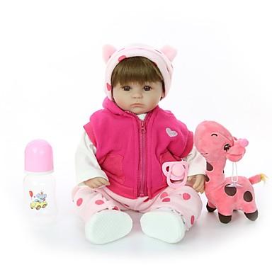 FeelWind Bonecas Reborn Bebês Meninas 18 polegada Silicone - Crianças / Adolescente Adorável Criativo de Criança Unisexo Brinquedos Dom
