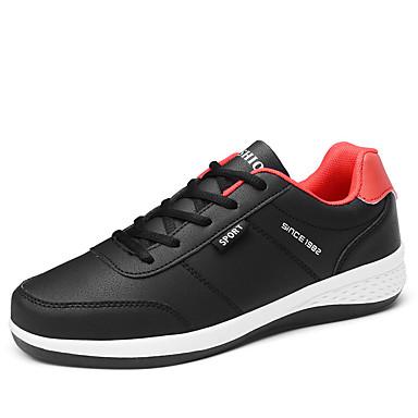 Homens Sapatos Confortáveis Couro Ecológico Outono Esportivo Tênis Corrida Não escorregar Estampa Colorida Preto / Branco / Azul / Atlético