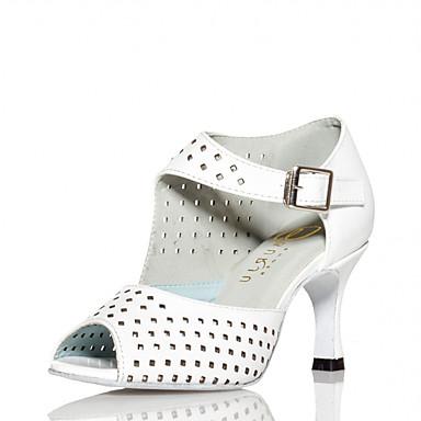 Mulheres Sapatos de Dança Couro Ecológico Sapatos de Dança Latina Saiu ao lado Salto Salto Carretel Personalizável Branco / Espetáculo
