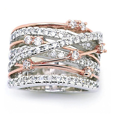 billige Motering-Dame Ring 1pc Sølv Rose Gull Fuskediamant Legering Annerledes Vintage Koreansk Mote Daglig Smykker Heldig