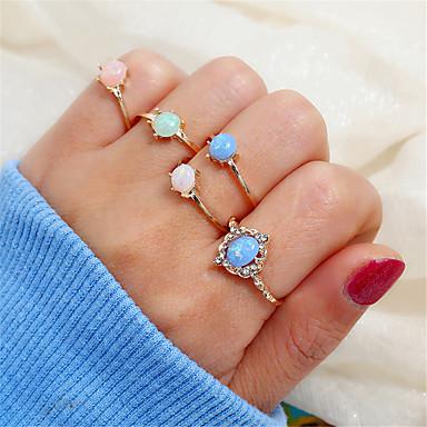 Mulheres Conjunto de anéis Anel Multidedos 5pçs Dourado Strass Liga Simples Vintage Coreano Festa Graduação Jóias