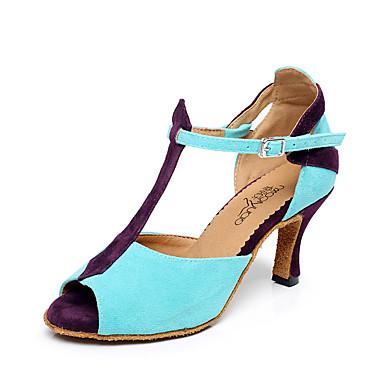 preiswerte Tanzschuhe-Damen Tanzschuhe Nylon Schuhe für den lateinamerikanischen Tanz Farbaufsatz Absätze Keilabsatz Maßfertigung Blau / Leistung