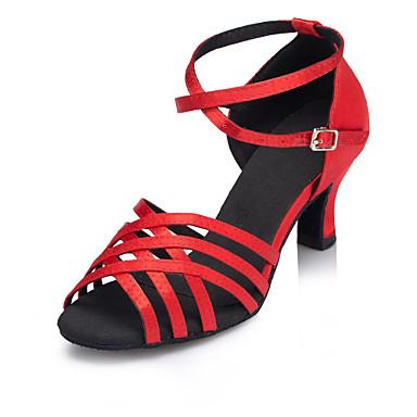 Mulheres Sapatos de Dança Latina Cetim Correia Cruzada Salto Recortes Salto Cubano Personalizável Sapatos de Dança Vermelho / Espetáculo